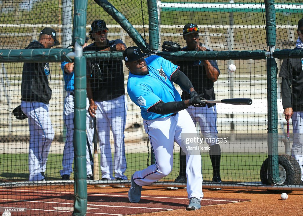 Dolphins players join Marlins at spring training : News Photo