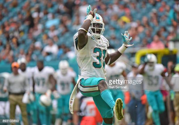 Miami Dolphins free safety Michael Thomas celebrates stopping a Pitsburgh Steelers drive in the third quarter on Sunday Oct 16 2016 at Hard Rock...