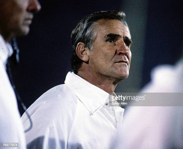 Miami Dolphins Hall of Fame head coach Don Shula watches the game slip away during Super Bowl XIX a 3816 loss to the San Francisco 49ers on January...