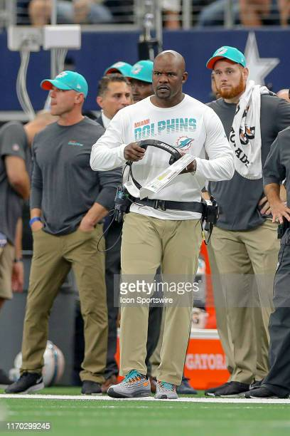 Miami Dolphins head coach Brian Flores glares after a player is injured during the game between the Miami Dolphins and Dallas Cowboys on September...