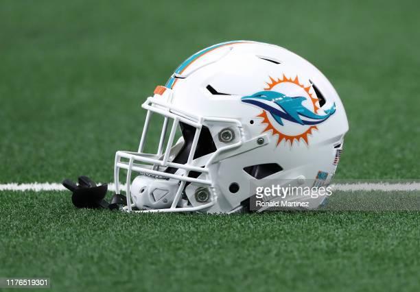 Miami Dolphins helmet at AT&T Stadium on September 22, 2019 in Arlington, Texas.