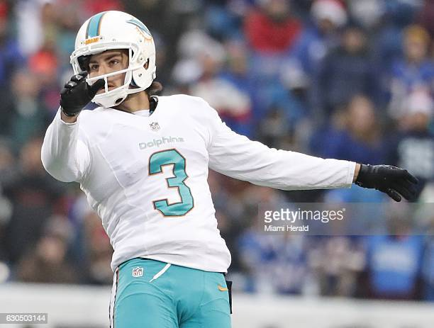 Miami Dolphins kicker Andrew Franks against the Buffalo Bills at New Era Field in Orchard Park NY on Saturday Dec 24 2016 The Dolphins won 3431 in...