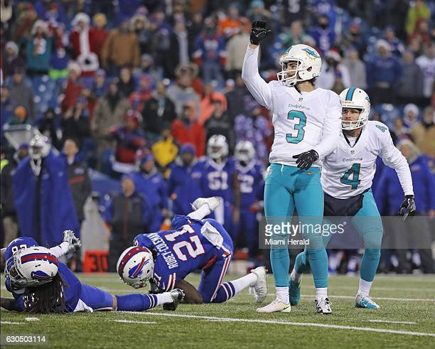 Miami Dolphins kicker Andrew Franks kicks the 27yard gamewinning goal in overtime against the Buffalo Bills at New Era Field in Orchard Park NY on...
