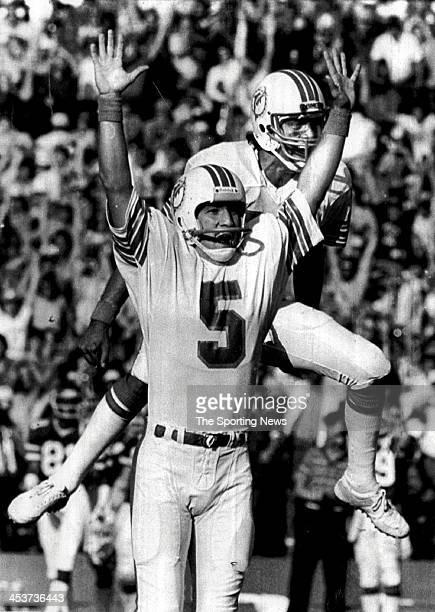 Miami Dolphins kicker Uwe Von Schamann and Don Strock celebrate Von Schamann's gamewinning field goal 3 seconds remaining against the New York Jets...