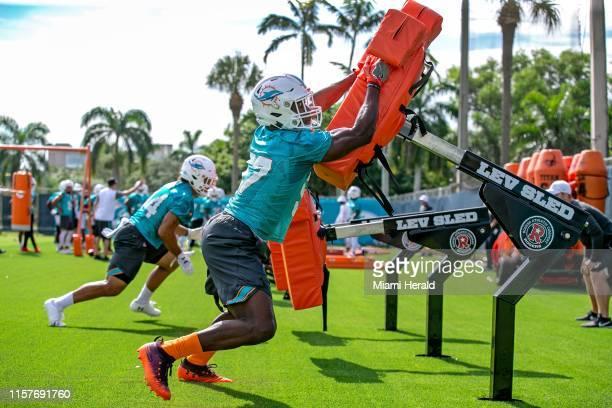 Miami Dolphins linebacker Terrill Hanks runs through drills during Miami Dolphins practice at Baptist Health South Florida Training Facility...