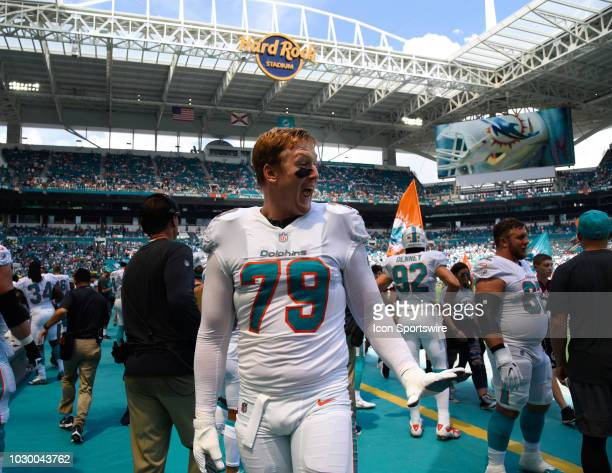 Miami Dolphins Offensive Tackle Sam Young on the field between the Miami Dolphins and Tennessee Titans on Sunday September 9 2018 at Hard Rock...