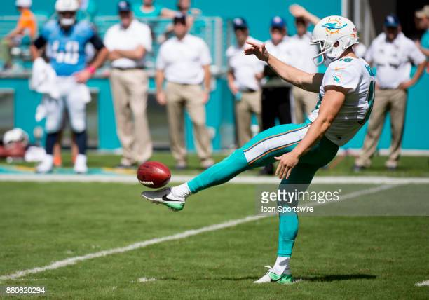 Miami Dolphins Punter Matt Haack punts the ball during an NFL game between the Tennessee Titans and the Miami Dolphins on October 8, 2017 at the Hard...
