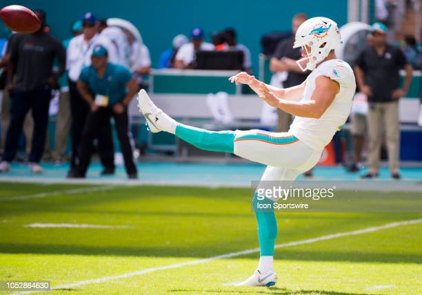 Miami Dolphins Punter Matt Haack punts the ball during the NFL football game between the Detroit Lions and the Miami Dolphins on October 21 2018 at...