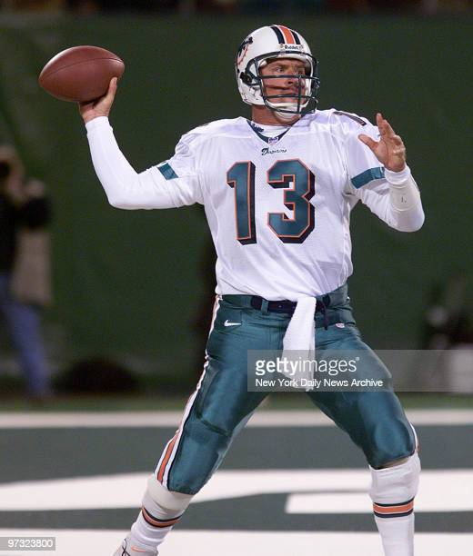 Miami Dolphins' quarterback Dan Marino is ready to launch a pass in game against the New York Jets at Giants Stadium The Jets won 2820