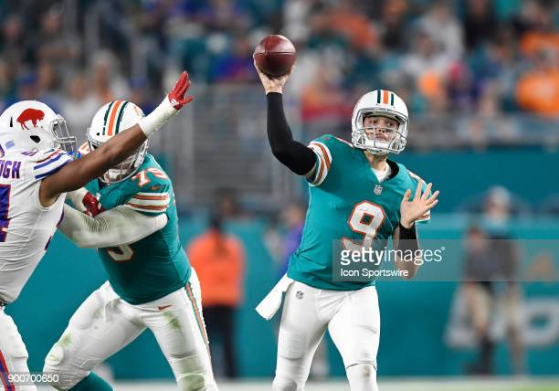 Miami Dolphins quarterback David Fales passes during an NFL football game between the Buffalo Bills and the Miami Dolphins on December 31 2017 at...