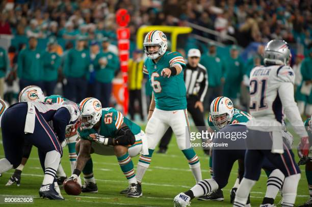 Miami Dolphins Quarterback Jay Cutler gestures at the line of srimmage during the NFL football game between the New England Patriots and the Miami...