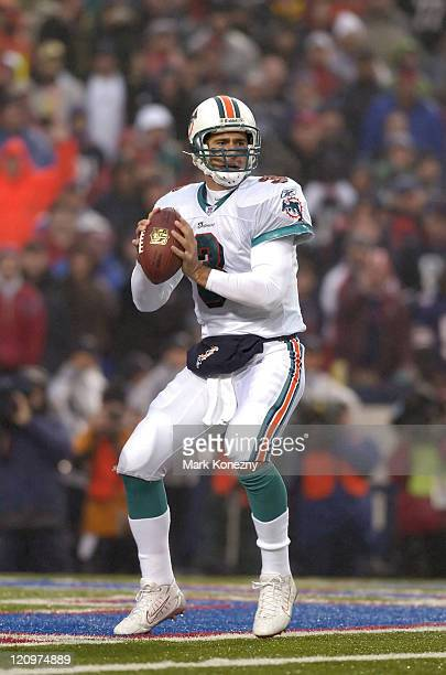 Miami Dolphins quarterback Joey Harrington delivers a pass during a game against the Buffalo Bills at Ralph Wilson Stadium in Orchard Park New York...