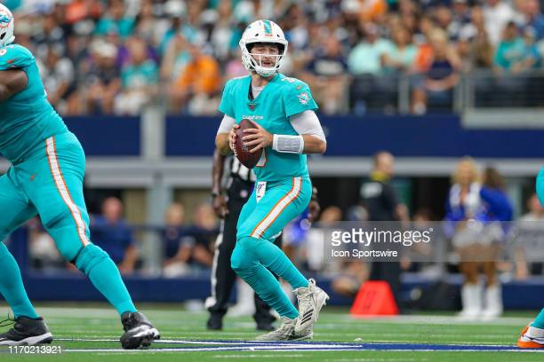 Miami Dolphins Quarterback Josh Rosen drops back to pass during the game between the Miami Dolphins and Dallas Cowboys on September 22, 2019 at AT&T...