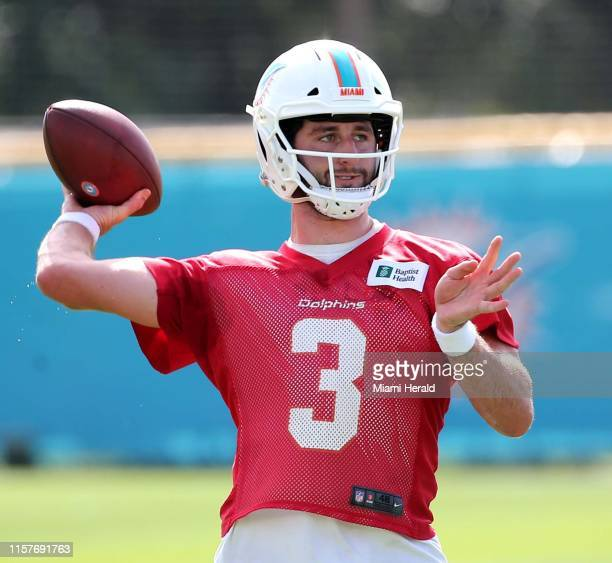 Miami Dolphins quarterback Josh Rosen on the first day of training camp at Baptist Health South Florida Training Facility Thursday, July 25, 2019 in...