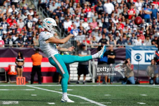 Miami Dolphins quarterback punter Matt Haack punts the ball during a game between the New England Patriots and the Miami Dolphins on September 30 at...