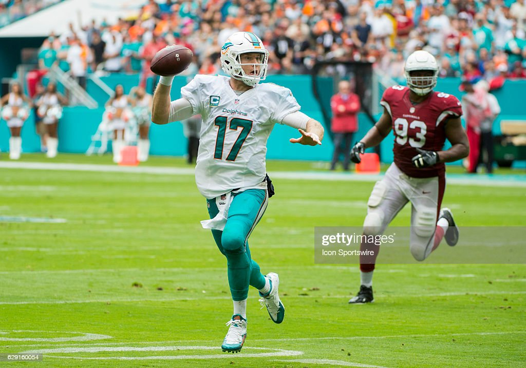 Miami Dolphins Quarterback Ryan Tannehill (17) scrambles with the ball as he is pursued by Arizona Cardinals Defensive Tackle Calais Campbell (93) during the NFL football game between the Arizona Cardinals and the Miami Dolphins on December 11, 2016, at the Hard Rock Stadium in Miami Gardens, FL.