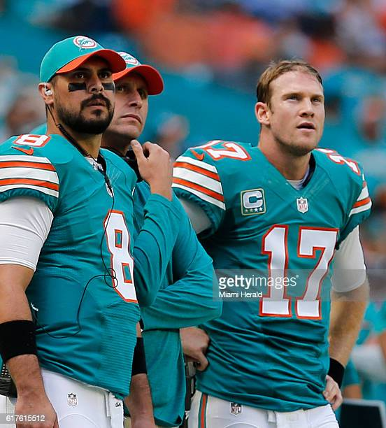 Miami Dolphins quaterbacks Matt Moore and Ryan Tannehill with coach Adam Gase as they face the Buffalo Bills on Sunday Oct 23 2016 at Hard Rock...