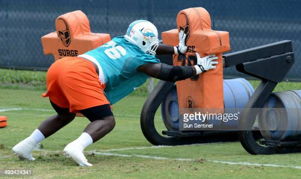 Miami Dolphins rookie defensive tackle Anthony Johnson runs a drill during the first day of rookie minicamp at Nova Southeastern University in Davie...