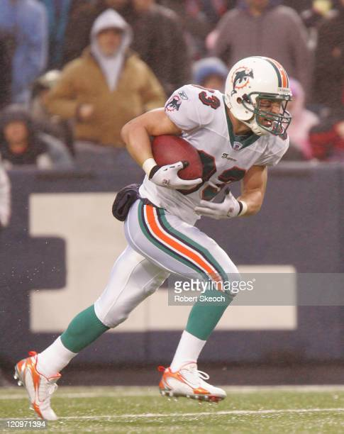 Miami Dolphins Wes Welker carries the ball during the game against the Buffalo Bills at Ralph Wilson Stadium in Orchard Park, New York on December...