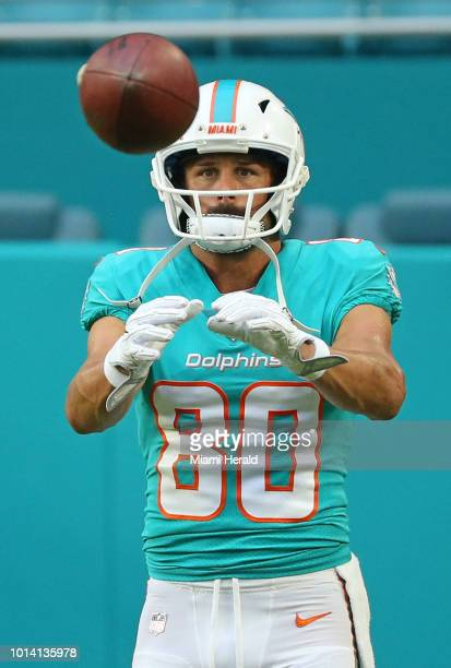 Miami Dolphins wide receiver Danny Amendola before the start of a preseason game against the Tampa Bay Buccaneers at Hard Rock Stadium in Miami...