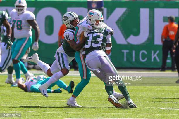 Miami Dolphins wide receiver Danny Amendola is hit by New York Jets defensive back Jamal Adams and New York Jets defensive back Buster Skrine during...