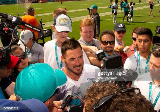 Miami Dolphins Wide Receiver Danny Amendola smiles as the talks with the media after a practice session at the Miami Dolphins training camp on July...
