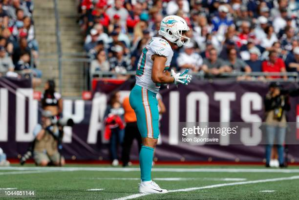 Miami Dolphins wide receiver Danny Amendola waits to return a punt during a game between the New England Patriots and the Miami Dolphins on September...