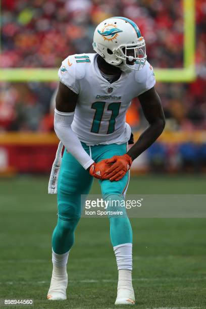 Miami Dolphins wide receiver DeVante Parker before the snap in the second quarter of a week 16 NFL game between the Miami Dolphins and Kansas City...