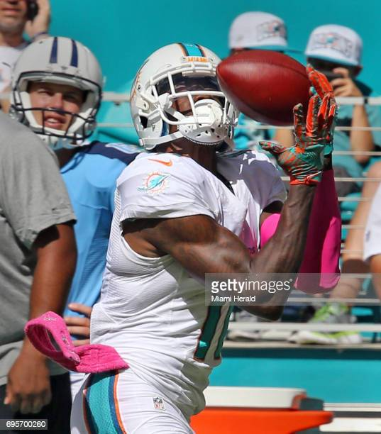 Miami Dolphins wide receiver DeVante Parker catches a long pass in the third quarter against the Tennessee Titans on October 9 at Hard Rock Stadium...