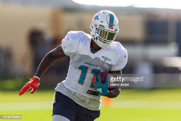 Miami Dolphins wide receiver DeVante Parker catches a throw during training camp at the Baptist Health Training Facility in Nova Southeastern...