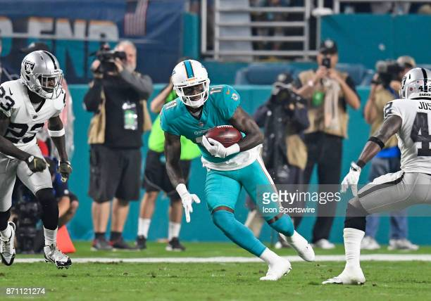 Miami Dolphins wide receiver DeVante Parker plays during an NFL football game between the Oakland Raiders and the Miami Dolphins on November 5 2017...