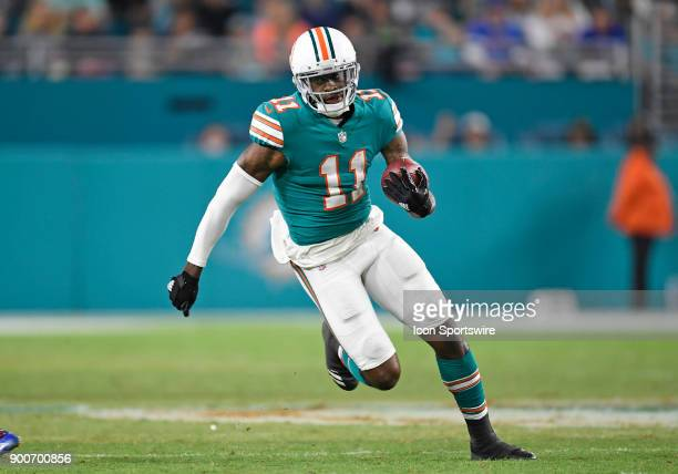 Miami Dolphins wide receiver DeVante Parker plays during an NFL football game between the Buffalo Bills and the Miami Dolphins on December 31 2017 at...