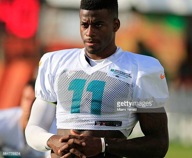 Miami Dolphins wide receiver DeVante Parker waits for practice to start during the second day of training camp at the Dolphins Training Facility in...