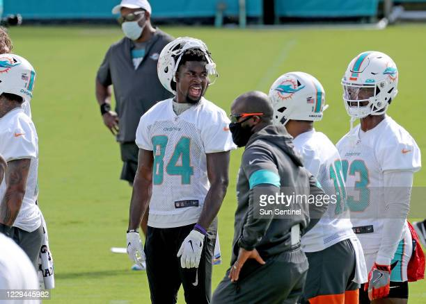 Miami Dolphins wide receiver Isaiah Ford during practice at the Doctors Hospital Training Facility at Nova Southeastern University in Davie, Florida...