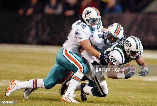Miami Dolphins' Zach Thomas and Sam Madison tackle New York Jets' wide receiver Laveranues Coles after a pass reception in the first quarter 10...