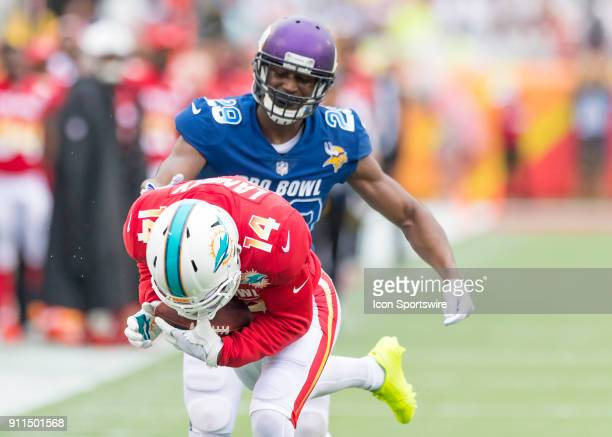 Miami Dophins wide receiver Jarvis Landry receives a long pass for a first down During the NFL Pro Bowl match between the AFC NFC on January 28 2018...