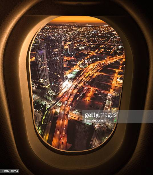 Miami downtown aerial view in the night from the porthole