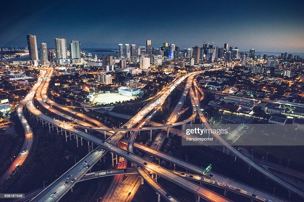 Miami downtown aerial view in the night : Stock Photo