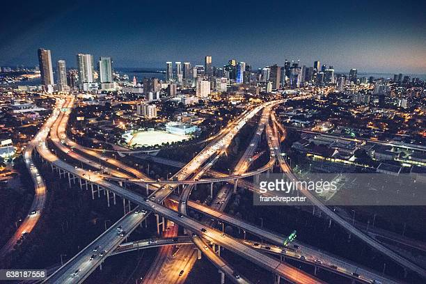 miami downtown aerial view in the night - downtown miami stock pictures, royalty-free photos & images