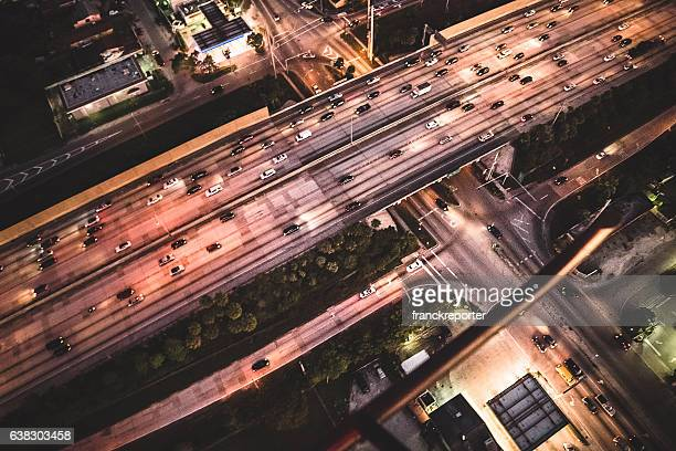 Miami downtown aerial view of the highway in the night