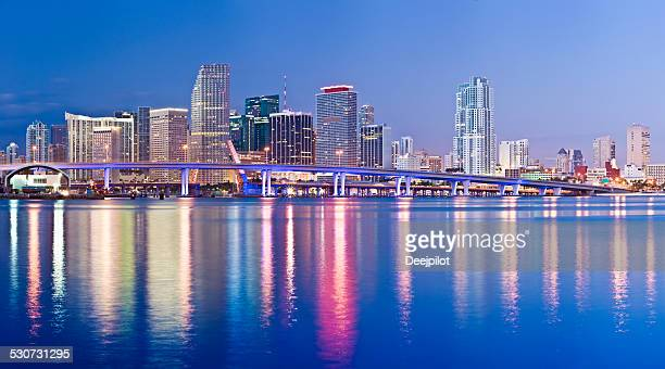miami downtown city skyline at night usa - downtown miami stock pictures, royalty-free photos & images