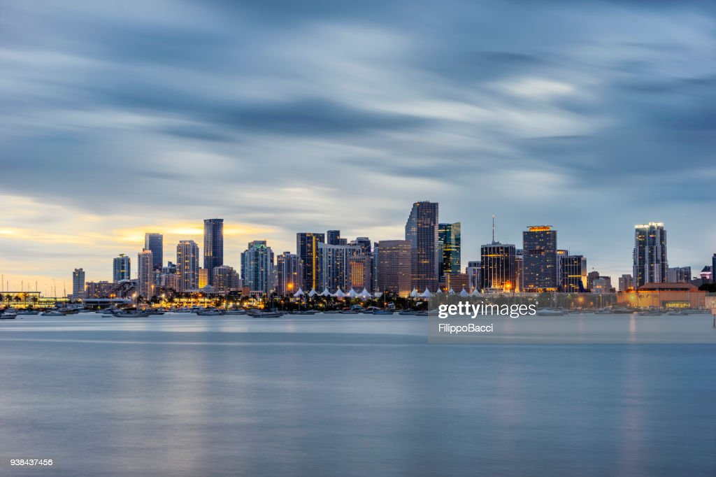 Miami Downtown skyline at sunset : Stock Photo
