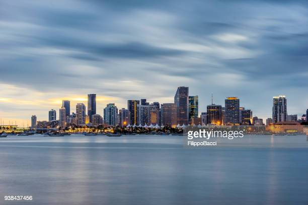 miami downtown skyline at sunset - downtown miami stock pictures, royalty-free photos & images