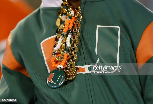 Miami fan wears his version of the turnover chain before the ACC Football Championship at Bank of America Stadium on December 2 2017 in Charlotte...