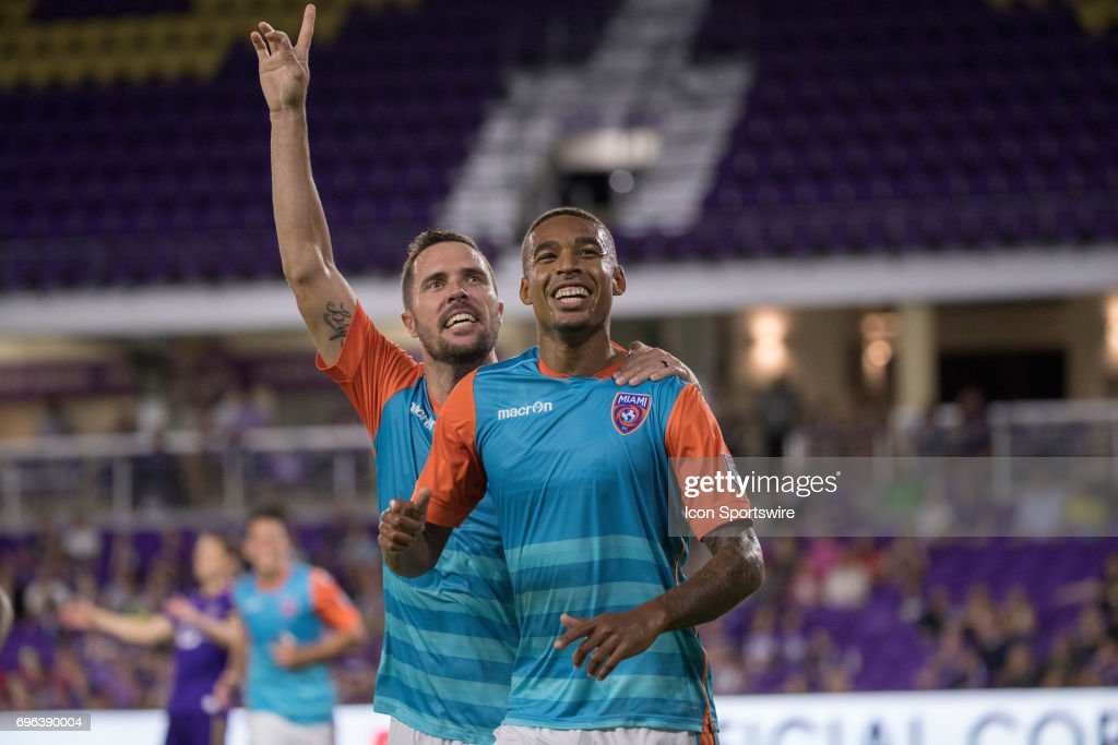 Miami FC defender Hunter Freeman (15)and Miami FC forward Stefano Pinho (29) celebrate after scoring a goal during the Open Cup soccer match between Miami FC and Orlando City SC on June 14, 2017 at Orlando City Stadium in Orlando FL.
