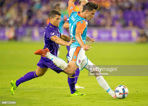 Miami FC midfielder Robert Baggio Kcira clears the ball vs Orlando City SC defender Rafael Ramos During the Lamar Hunt US Open Cup with Orlando City...