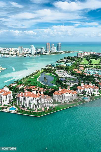 miami fisher island aerial view - fisher island stock pictures, royalty-free photos & images