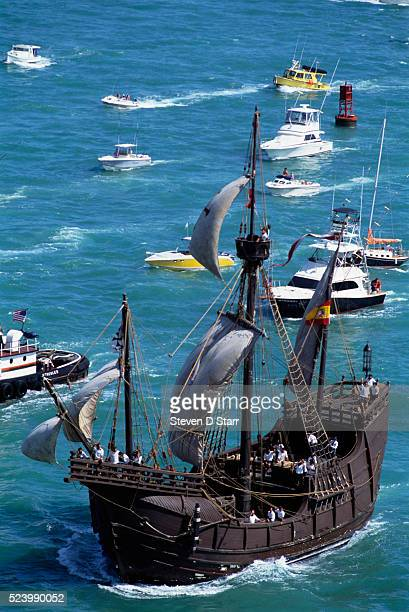 Replica of Columbus' flotilla the Nina the Pinta Santa Maria make first US landfall Spanish government sponsored replication of Christopher Columbus'...