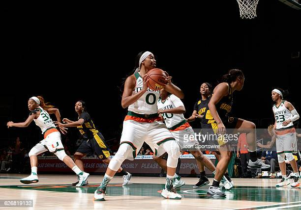 Miami forward Keyanna Harris rebounds during an NCAA basketball game between Grambling State University Tigers and the University of Miami Hurricanes...