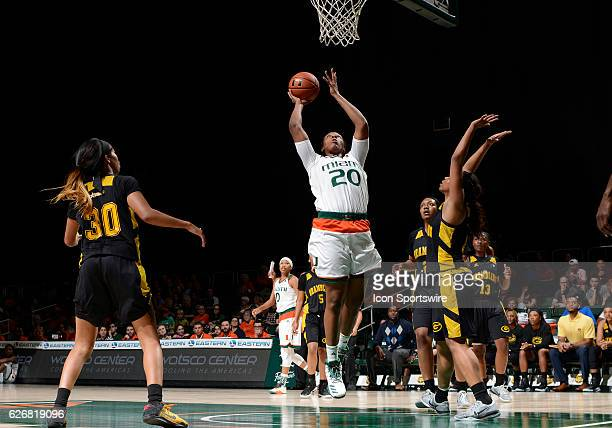 Miami forward Keyona Hayes shoots during an NCAA basketball game between Grambling State University Tigers and the University of Miami Hurricanes on...